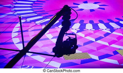 Video Camera on the Crane is Moving Indoors when Shooting a Television Show