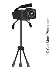 Video camera on the tripod vector illustration.