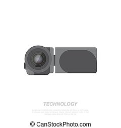 Video camera on white background.