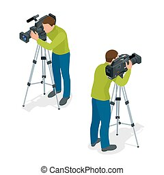 Video camera operator working with his professional equipment isolated on white background. Flat 3d vector isometric illustration.