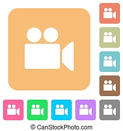 Video camera rounded square flat icons
