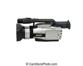This is a picture of a modern video camera isolated on a white background.