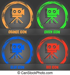 Video camera sign icon. content button. Fashionable modern style. In the orange, green, blue, red design. Vector