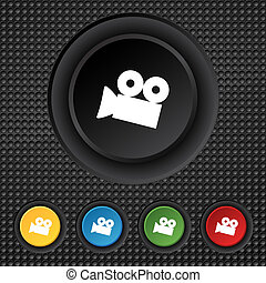 Video camera sign icon. content button. Set colourful buttons. Vector illustration