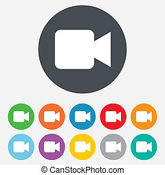 Video camera sign icon. Video content button. Round...