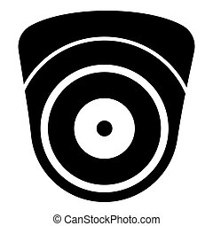 Video camera Spherical camcorder tracking Appliance monitoring Surveillance device CCTV Secure concept icon black color vector illustration flat style simple image