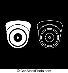 Video camera Spherical camcorder tracking Appliance monitoring Surveillance device CCTV Secure concept icon outline set white color vector illustration flat style simple image