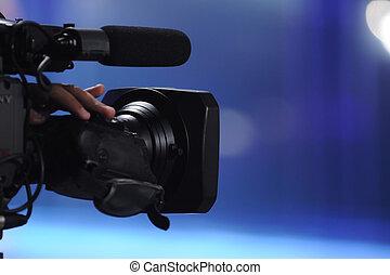 Video Camera - Close up of video camera in TV studio