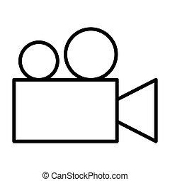 Video camera thin line icon. Cinema vector pictogram
