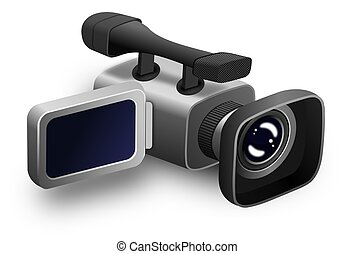 Video Camera - This illustration features the front and side...