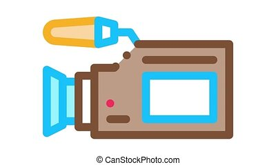 Video Camera Tool Icon Animation. color Video Camera Tool animated icon on white background