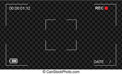 Video camera viewfinder overlay icon. Modern camera frame vector template