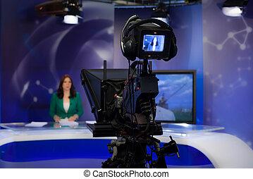 Video camera viewfinder - Video camera lens - recording show...