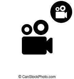 Video camera  - white vector icon