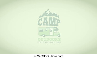Video camp logo with mini van and mountains - Camp logo with...