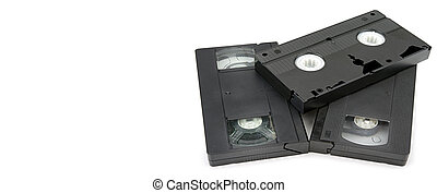 video cassette on a white background. Wide photo. Free space for text