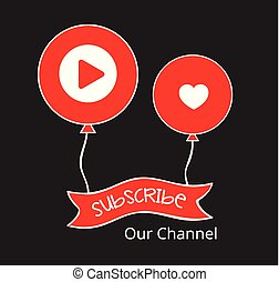 Video Channel Subscribe Banner Vector