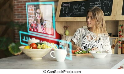 Video Chat Through Hologram Panel - Adult blonde woman uses...