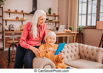 Two pleasant-looking elderly grey-haired women having a video chat