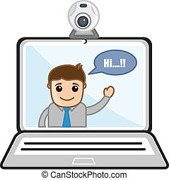 Video Chatting - Business Cartoons - Drawing Art of Cartoon...