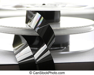 Close-up of video unwound video tapes