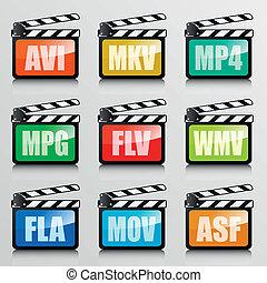 video codecs - detailed illustration of a set of clapper ...