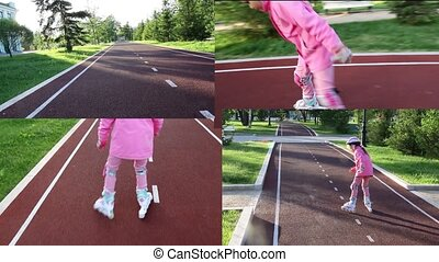 Video collage, girl rollerblading in the park on a bicycle path