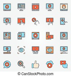 Video colorful icons set