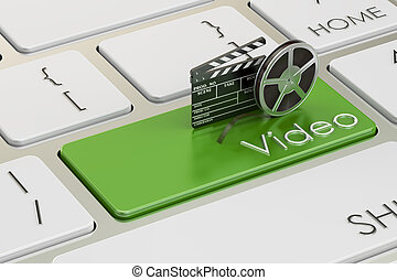 Video concept on green keyboard button, 3D rendering