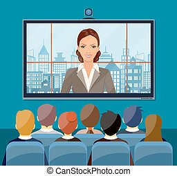 Video conference concept. Room with chairs and crowd, big...