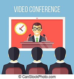 Video conference flat illustration