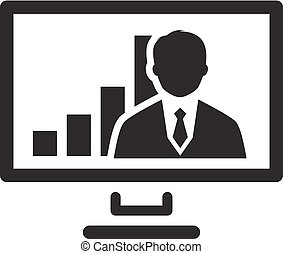 Video Conference Icon. Business Concept. Flat Design.