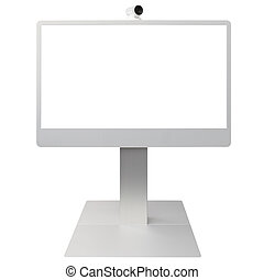 Video Conference isolated on white background with white screen