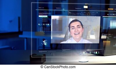video conference on virtual screen at night office -...