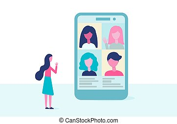 Video conference. People group on the phone screen talking. Virtual meeting concept. Online communication, education, remote work vector in flat design.