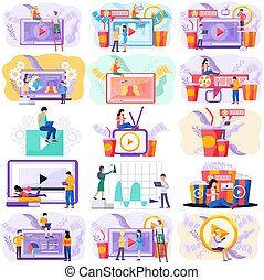 Video conference, webinar. People have a video call with colleagues or friends, online communication concept scenes set. Online cinema channel, internet streaming. Watch movie remotely at home