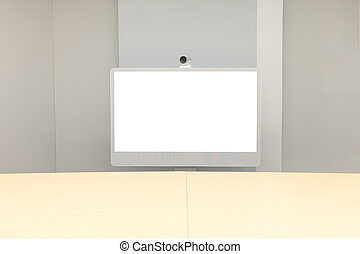 Video Conference room with white screen