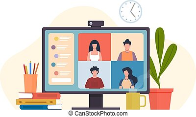 Video conferencing. Virtual meeting, desktop computer with colleagues group office teamwork or friends meet, software for online communication remote work vector flat cartoon concept