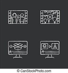 Video content chalk white icons set on black background