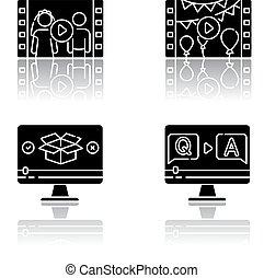Video content drop shadow black glyph icons set