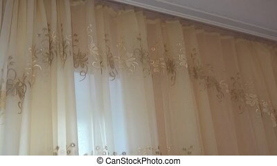 video curtains with cornice and white ceiling.