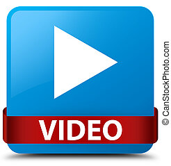 Video cyan blue square button red ribbon in middle