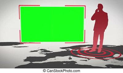 video, di, schermi, accanto a, affari, s