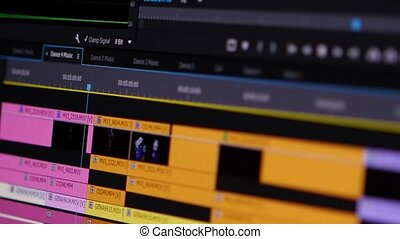 Video Editing Software Going Through The Timeline Frame By...