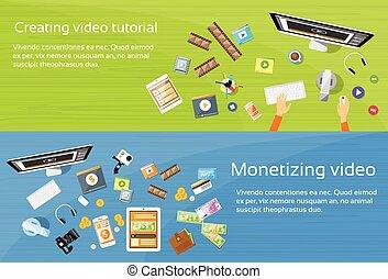 Video Editor Desk Workplace Web Banner Set Flat Vector...