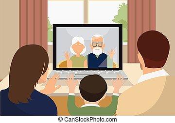 video, familie, drei, rufen, sprechende , generation, über
