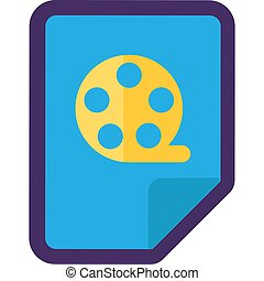 Video File Icon, Flat Film Reel Button Design