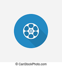 video film Flat Blue Simple Icon with long shadow