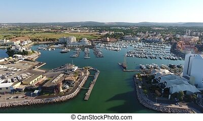 Video filmed from the sky Port Marina Vilamoura. Portugal