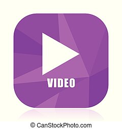 Video flat vector icon. Play violet web button. Media internet square sign. Multimedia modern design symbol in eps 10.